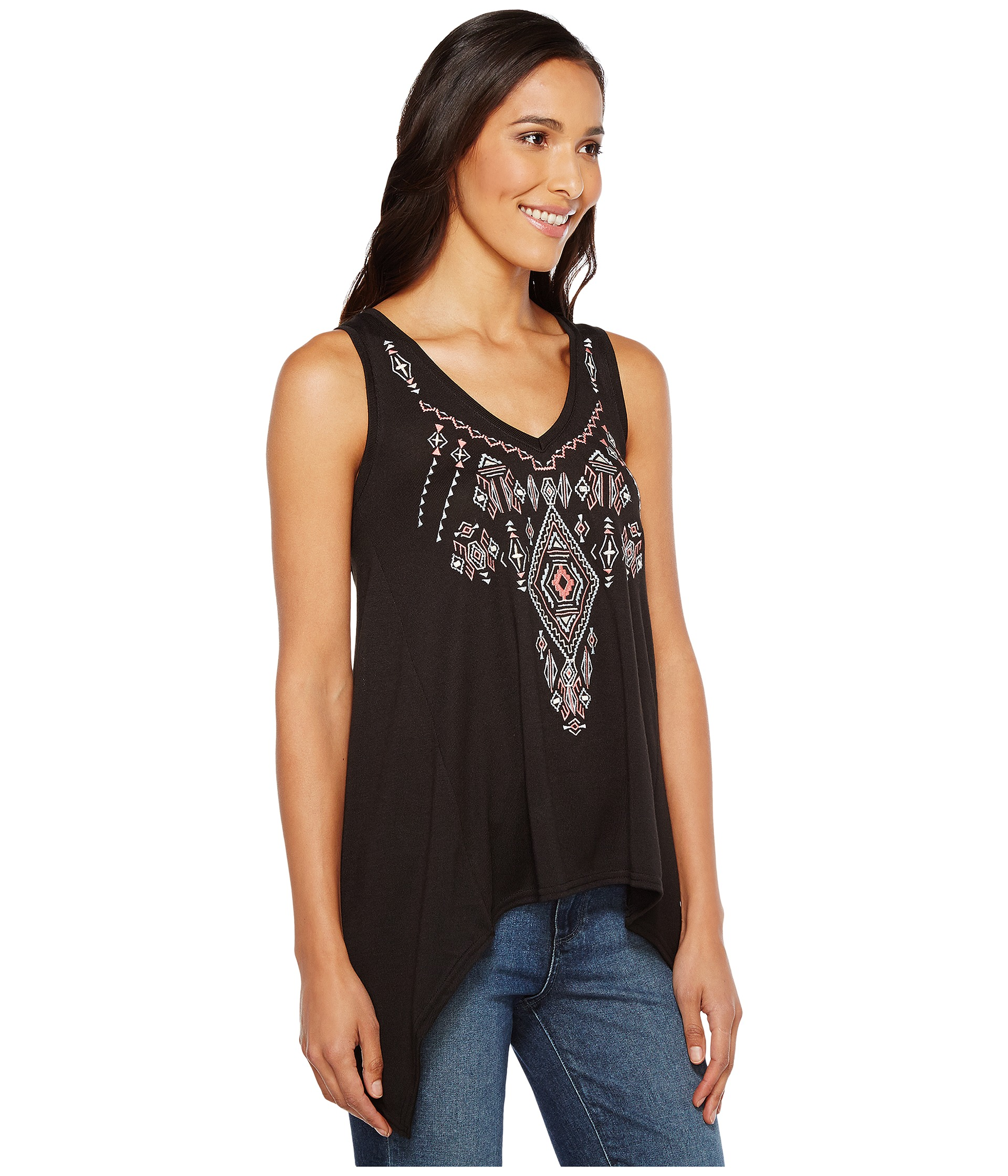 Roper sweater jersey tank top with embroidery at