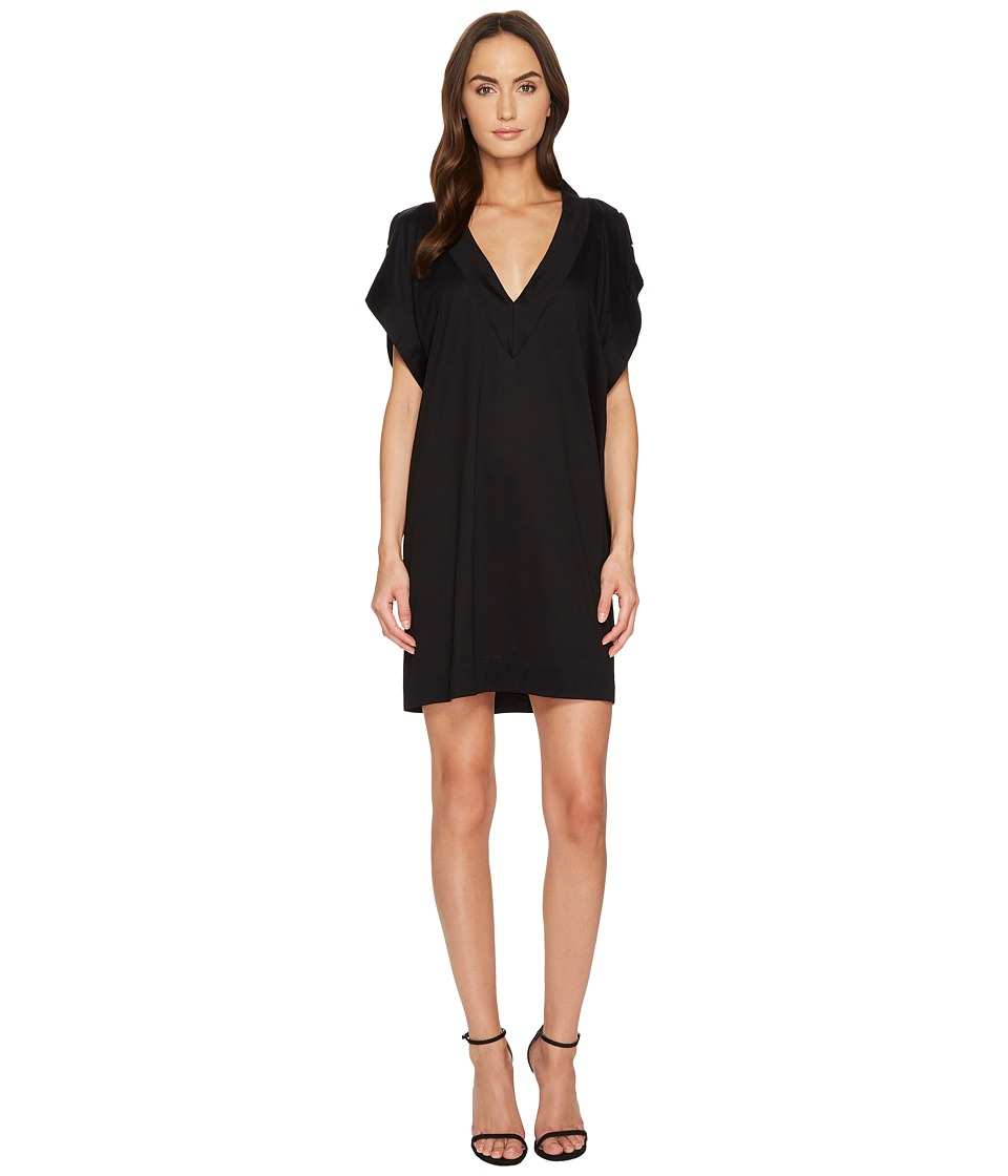 Versace Stud Trimmed Slit Sleeve Cover-Up (Black)