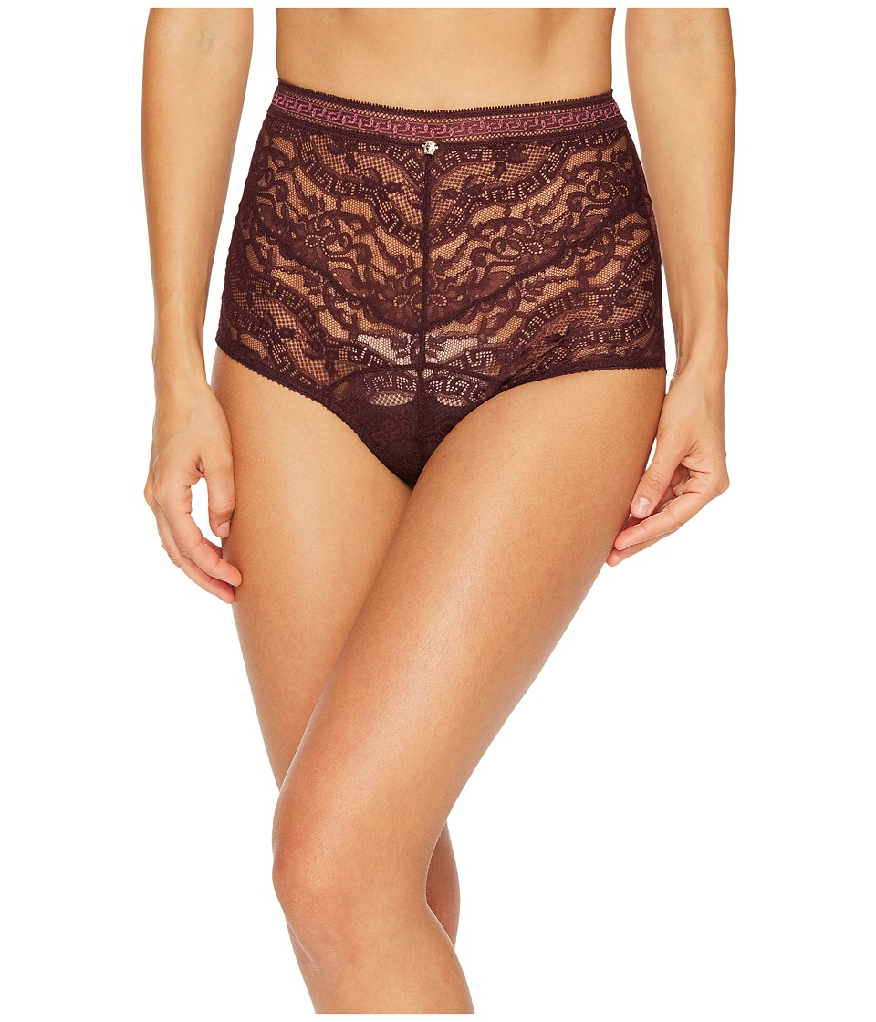 Versace High Waisted Lace Greek Panty (Burgundy) Women's ...