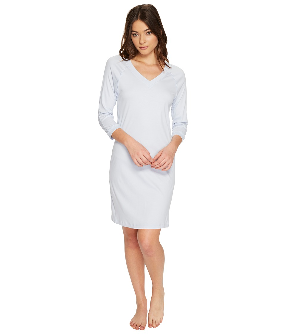 Hanro Pure Essence 3/4 Sleeve Gown (Blue Glow) Women's Pa...