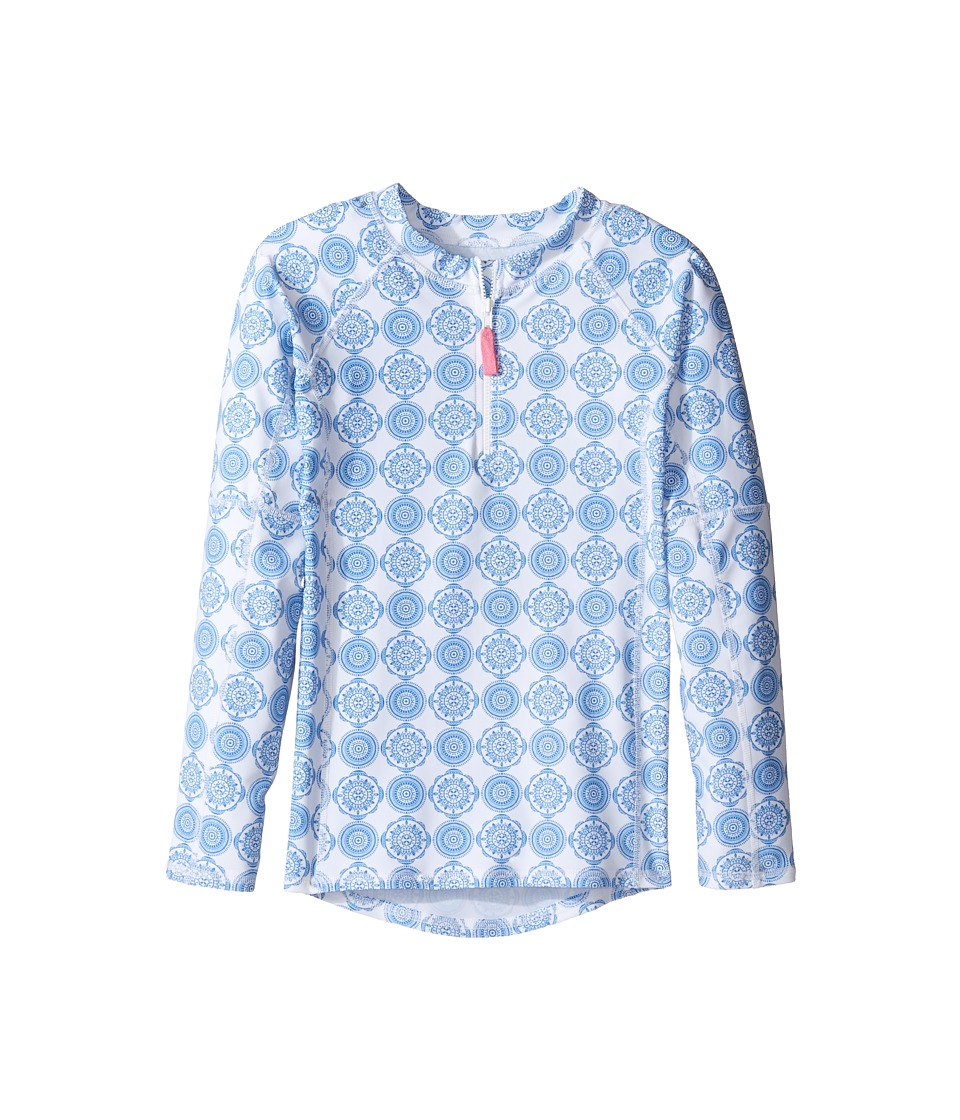 Toobydoo Delft Long Sleeve Rashguard (Infant/Toddler/Little Kids/Big Kids) (Blue/White) Girl