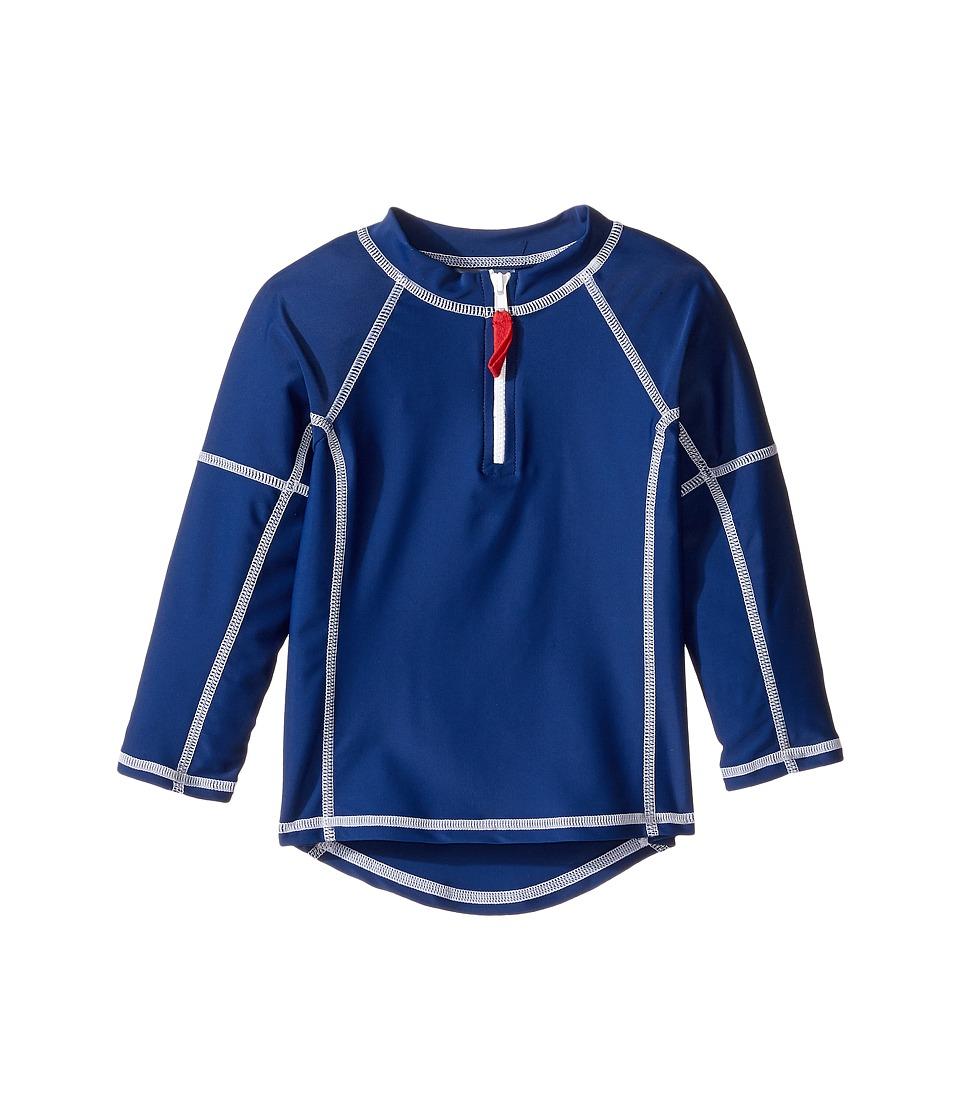 Toobydoo Long Sleeve Rashguard (Infant/Toddler/Little Kids/Big Kids) (Navy/Red Zipper) Boy