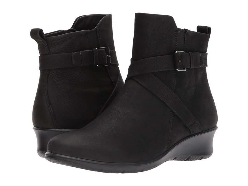 ECCO Felicia Ankle Buckle (Black Cow Nubuck) Women