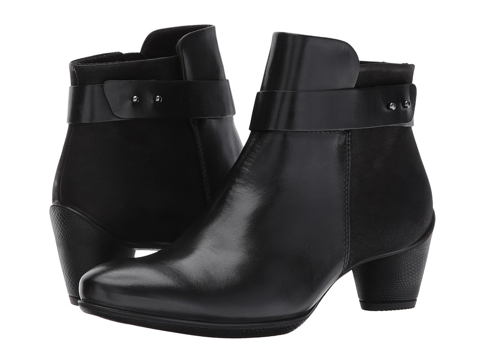 ECCO Sculptured 45 Buckle Boot (Black/Black Leather/Cow Nubuck) Women