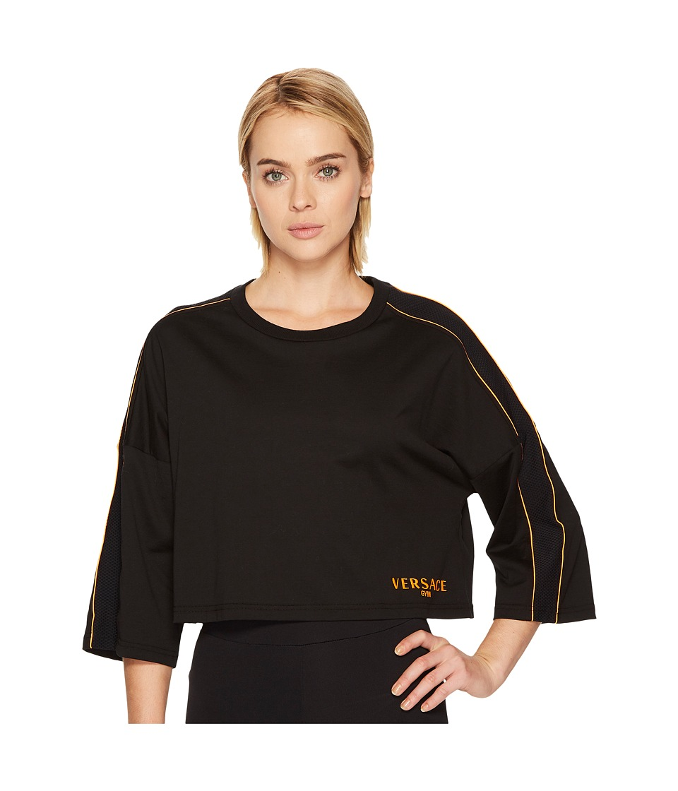 Versace Active Mesh Logo Long Sleeve Tee (Black/Orange) Women