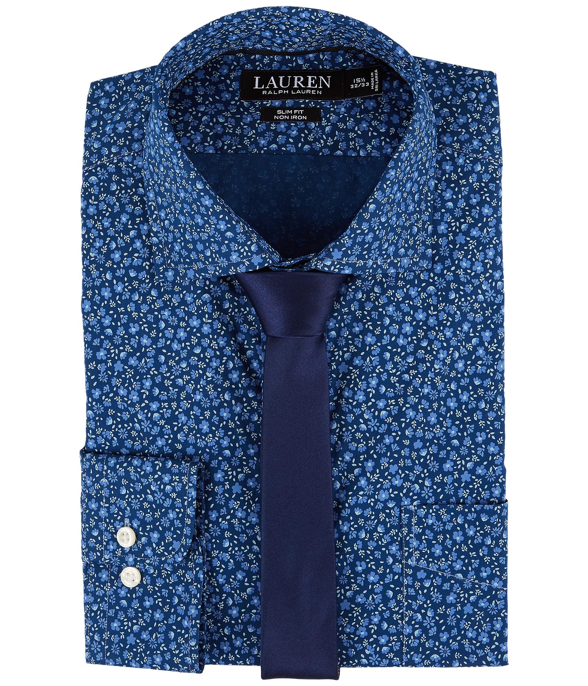 Lauren ralph lauren slim fit non iron floral dress shirt for Non iron slim fit dress shirts