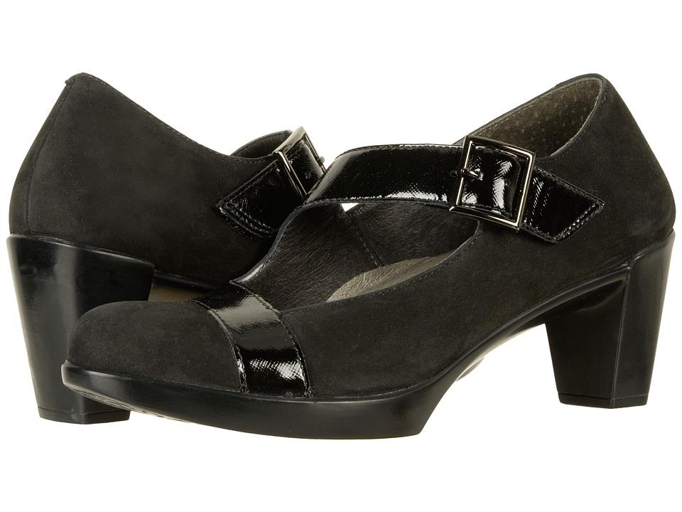Naot Brava (Black Velvet Nubuck/Black Luster Leather) Women's Shoes