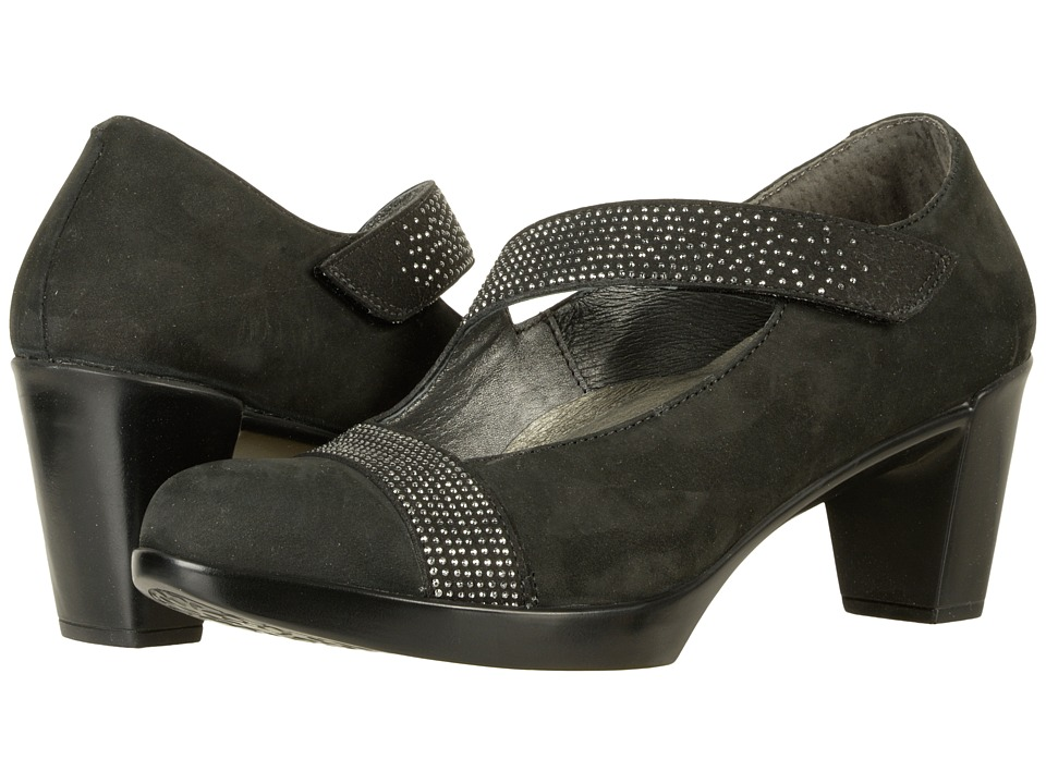 Naot Abbracci (Black Velvet Nubuck/Gunmetal Rivets) Women's Shoes