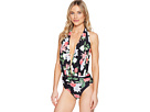 Vince Camuto - Tropical Halter Plunge One-Piece Swimsuit