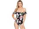 Tropical Ruffle Bandeau One-Piece Swimsuit