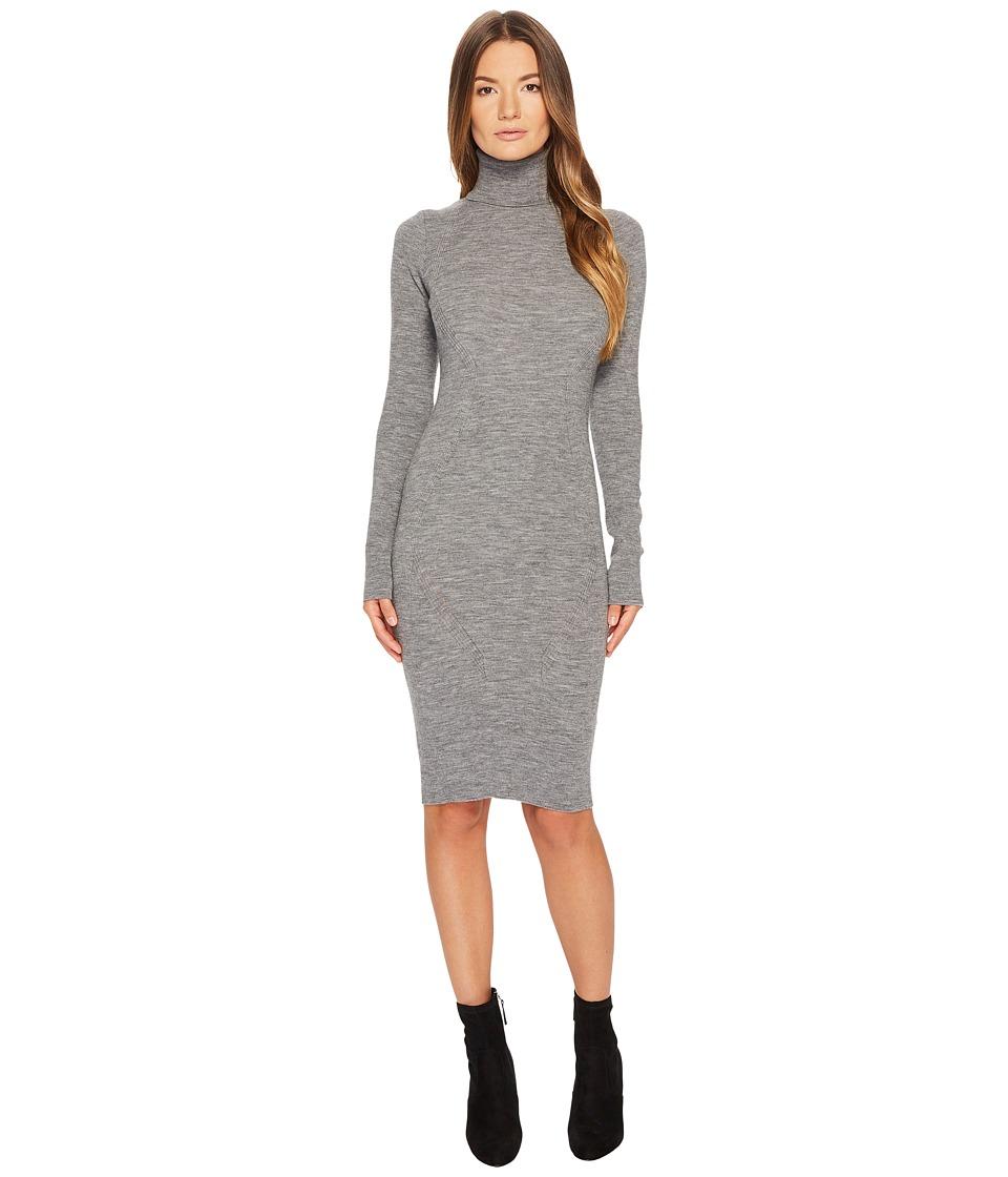 DSQUARED2 Knit Turtleneck Long Sleeve Dress (Grey Melange) Women
