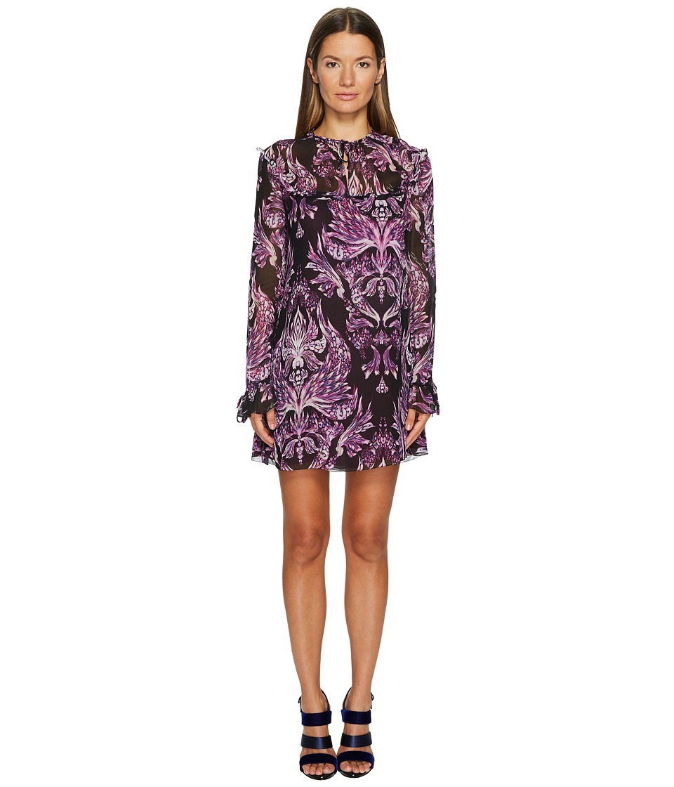 Just Cavalli Baroque Printed Long Sleeve Dress (Purple) Women