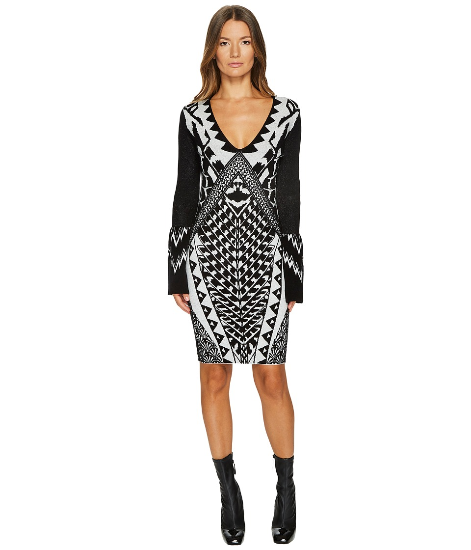 Just Cavalli Tribal Knit Long Sleeve Dress (Ecru White) Women