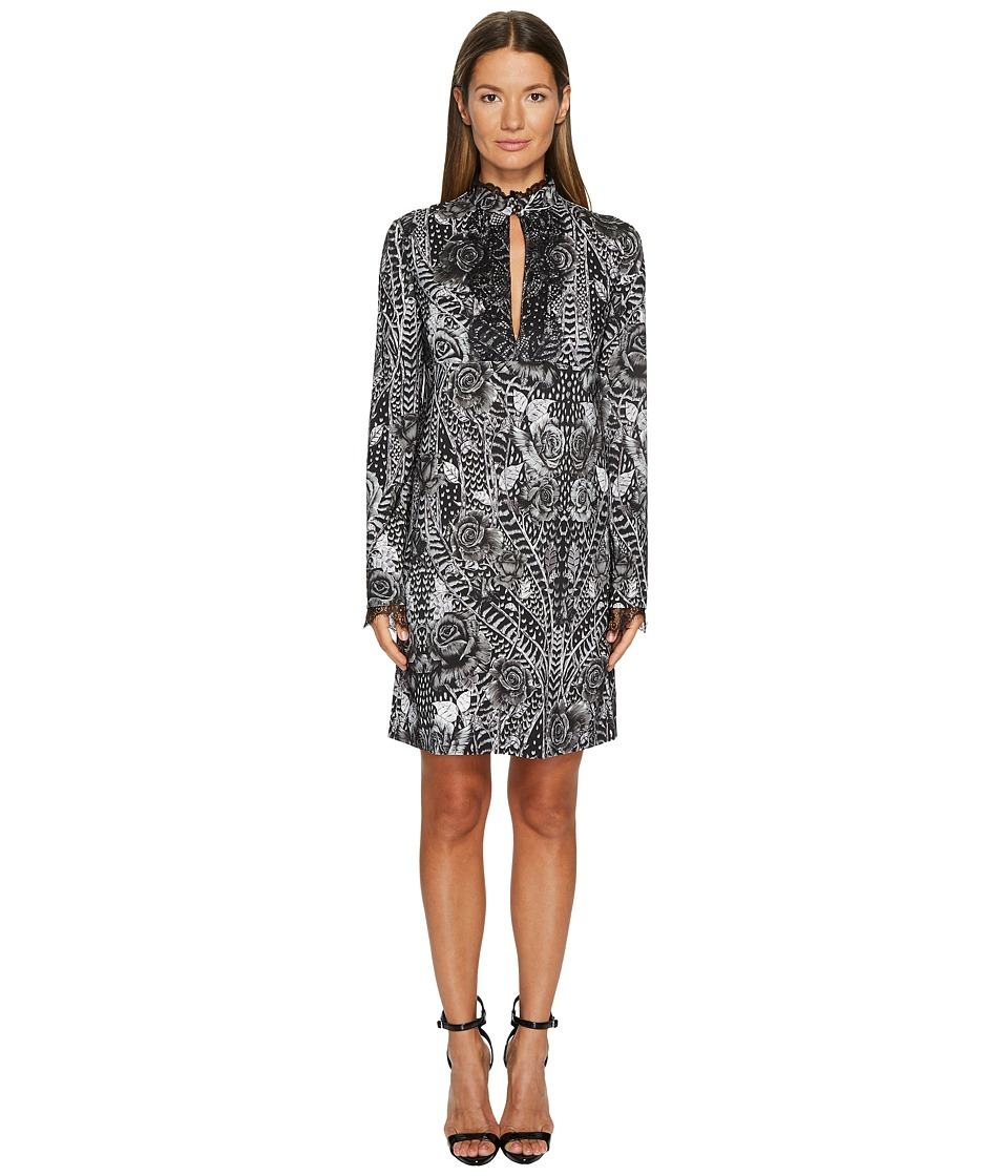 Just Cavalli Roses Printed Long Sleeve Dress (Black) Women