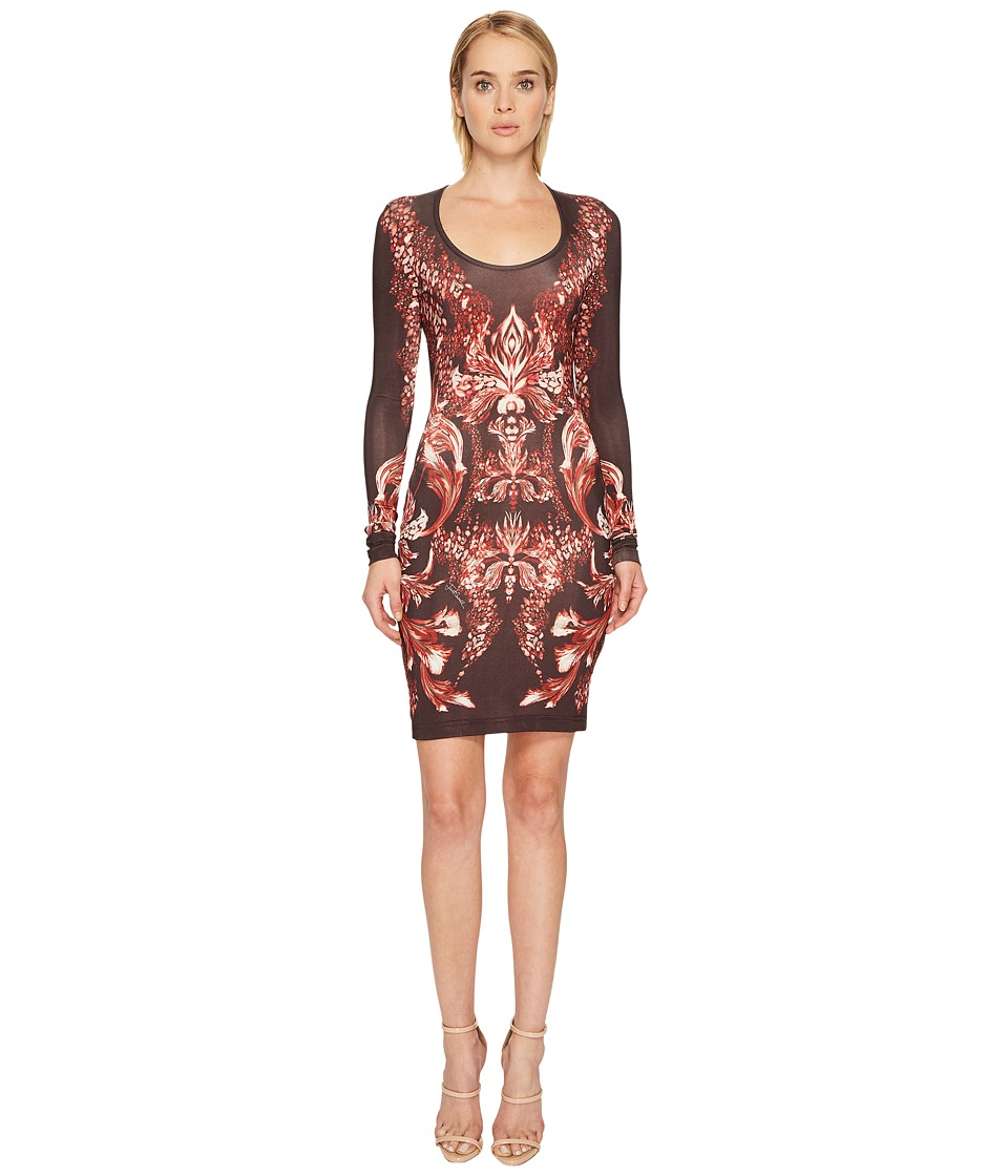 Just Cavalli - Plume of Baroque Printed Long Sleeve Scoop Neck Dress (Rose Red) Womens Dress