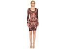 Just Cavalli Plume of Baroque Printed Long Sleeve Scoop Neck Dress