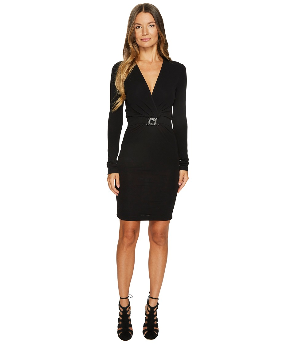 Just Cavalli Jersey Twist Front Long Sleeve Dress (Black) Women