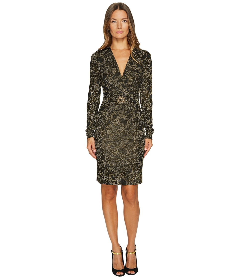 Just Cavalli Viscose Metallic Long Sleeve Twist Front Dress (Black) Women
