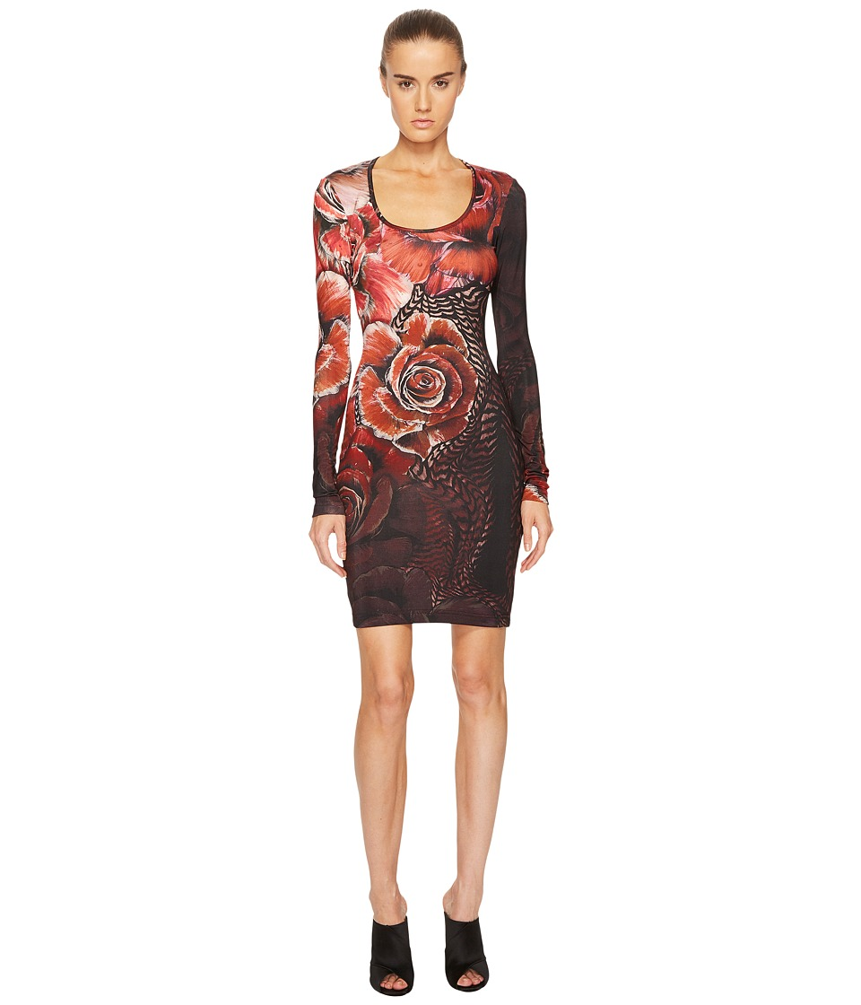 Just Cavalli - Deco Art Rose Printed Long Sleeve Scoop Neck Dress