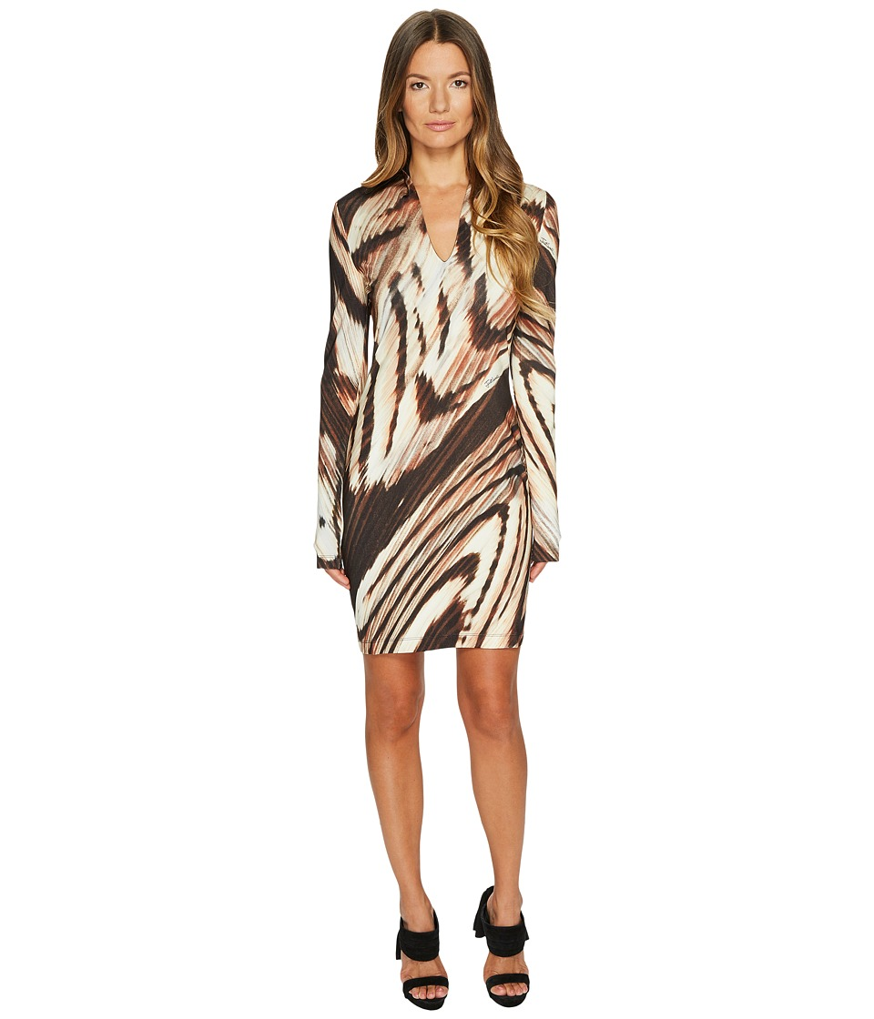 Just Cavalli Distorted Dragon Fly Print Long Sleeve Jersey Dress (Camel) Women