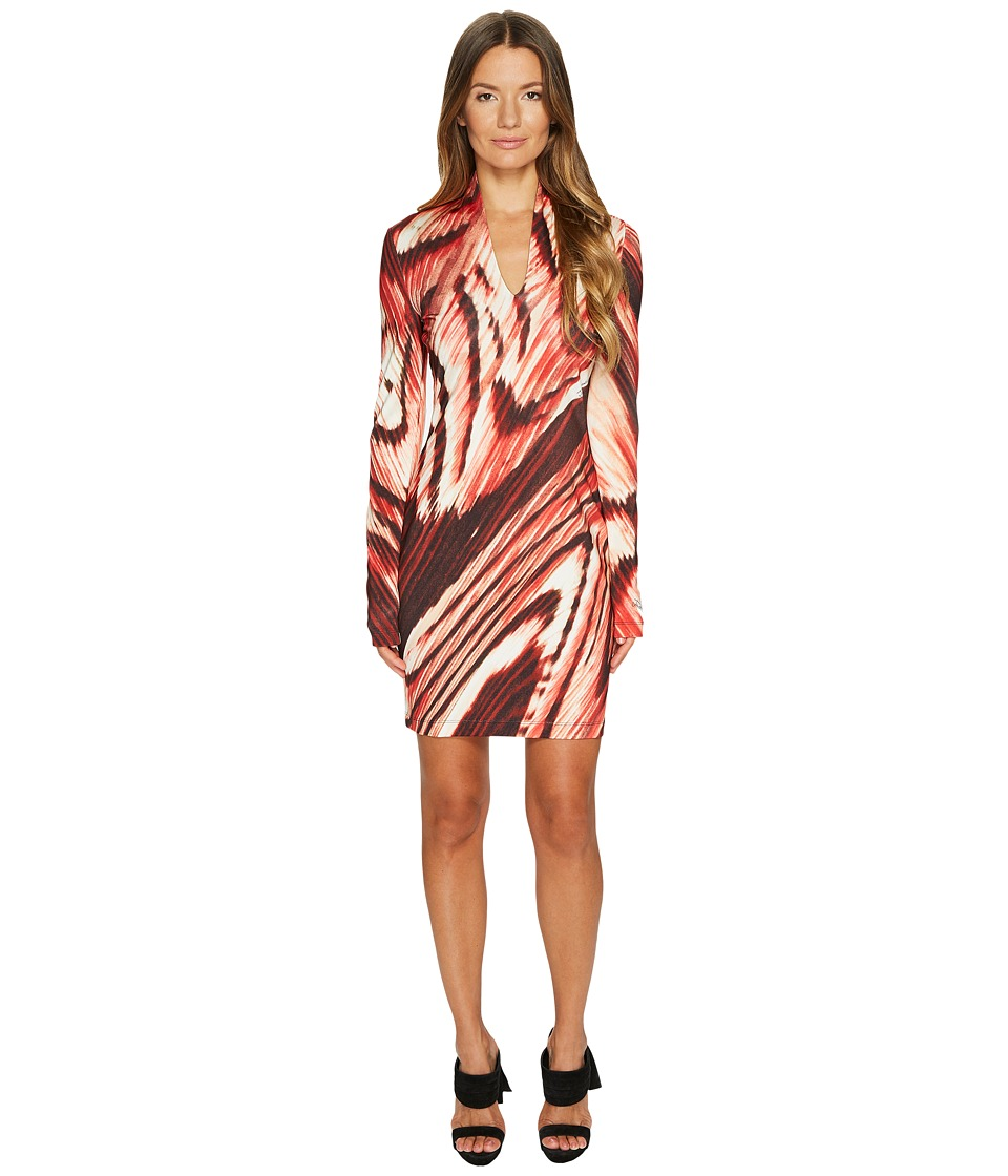 Just Cavalli Distorted Dragon Fly Print Long Sleeve Jersey Dress (Malva Red) Women