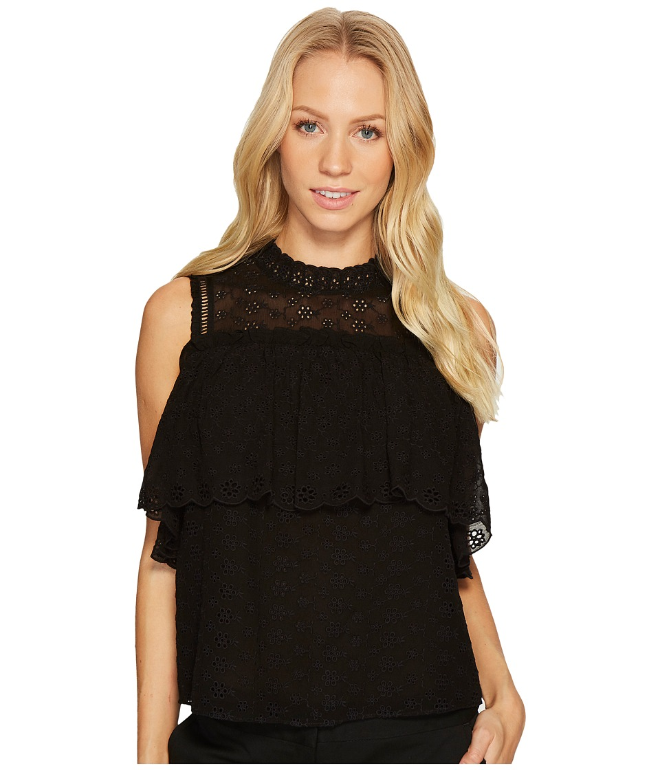 Rebecca Taylor - Short Sleeve Open Shoulder Eyelet Top