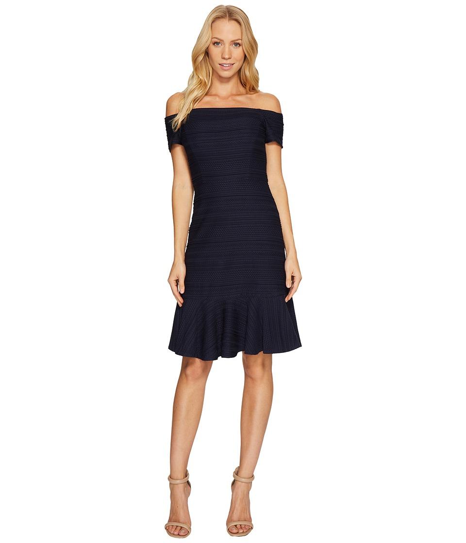 Rebecca Taylor Off Shoulder Stretch Texture Dress (Navy) Women