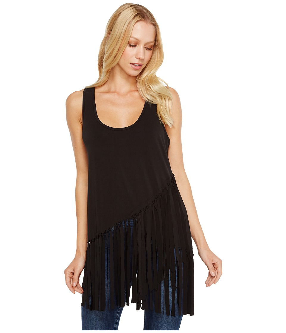 Roper 0980 Poly Spandex Tank Top with Self Fringe (Black) Women