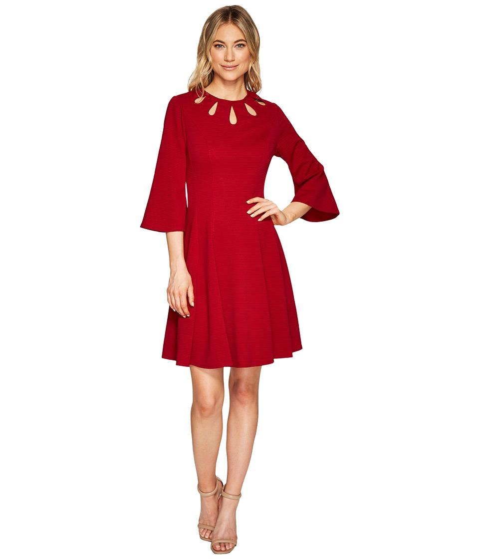 Christin Michaels Brielle Bell Sleeve Dress with Neckline Detail (Garnet) Women