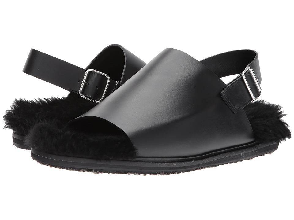 MARNI Shearling Lined Sandal (Black) Men