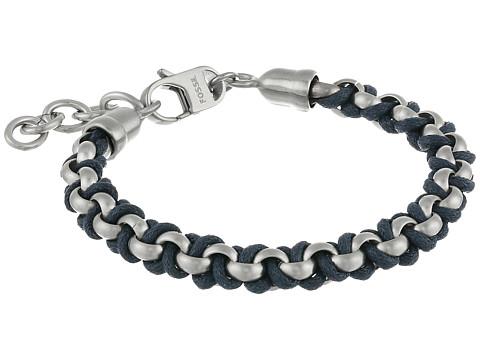 Fossil Classic Cotton Cord Bracelet - Blue/Silver Tone