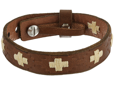 Fossil Vintage Casual Cross-Stitched Leather Bracelet - Silver Tone