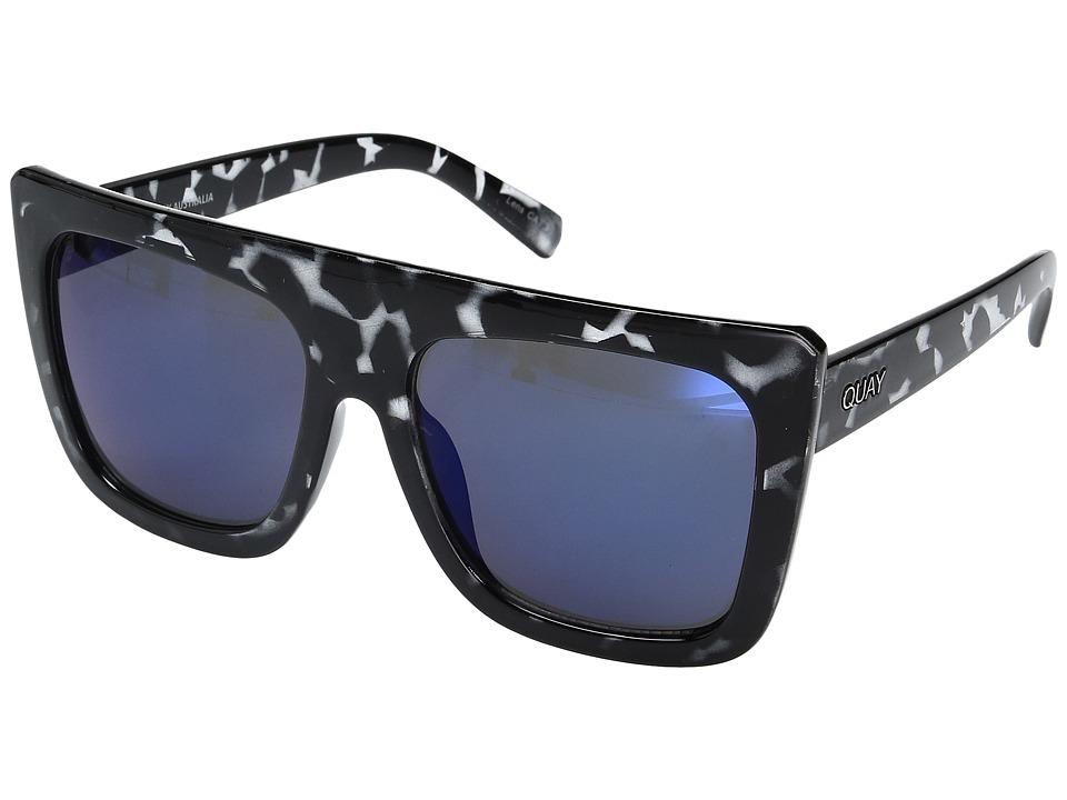 QUAY AUSTRALIA Cafe Racer (Black Tort/Blue Mirror) Fashion Sunglasses