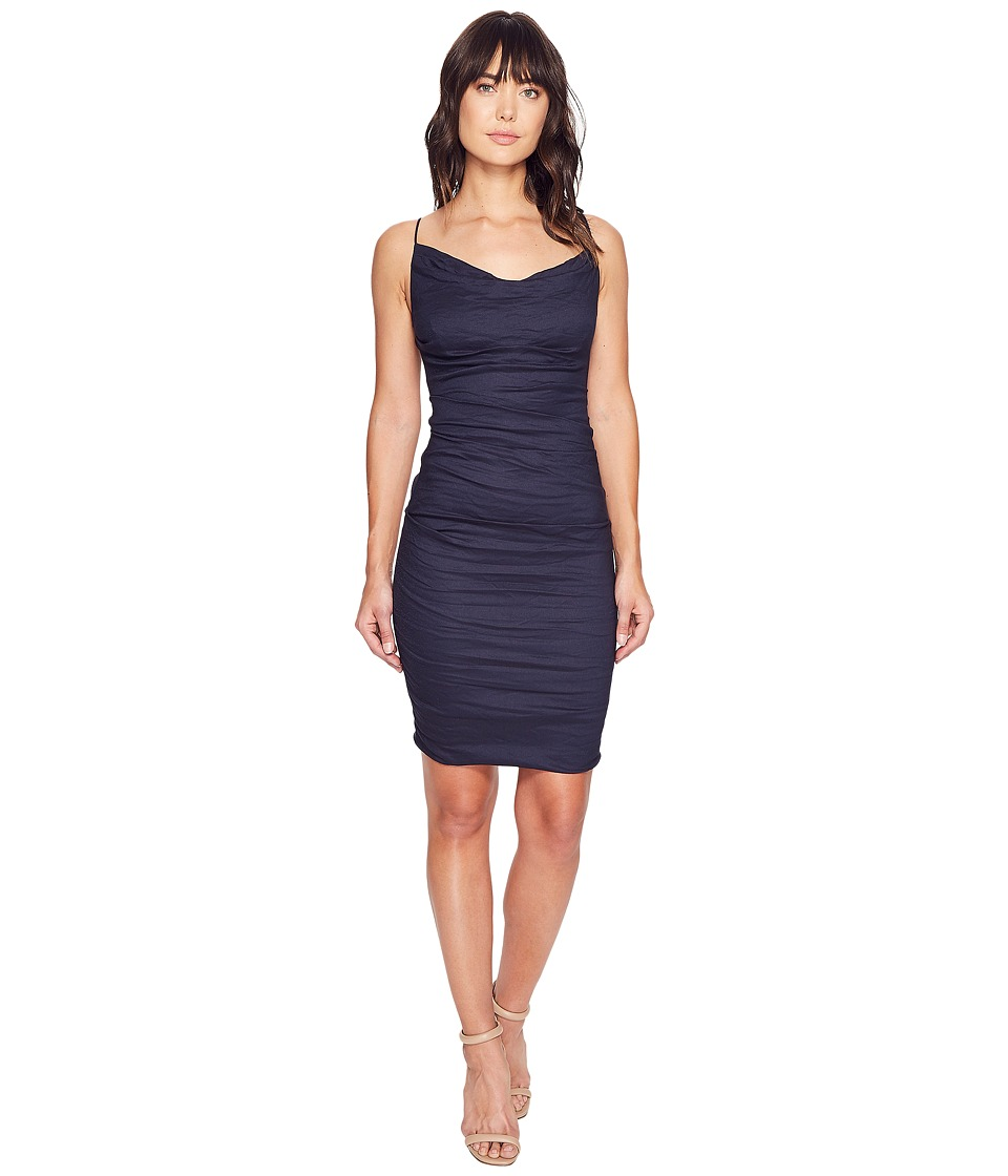 Nicole Miller Carly Cotton Metal Spaghetti Strap Dress (Navy) Women