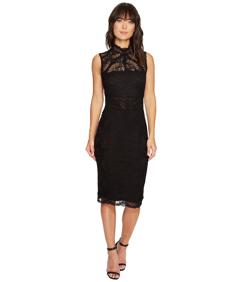 Nicole Miller Backed Lace Midi Dress (Black/Black) Women