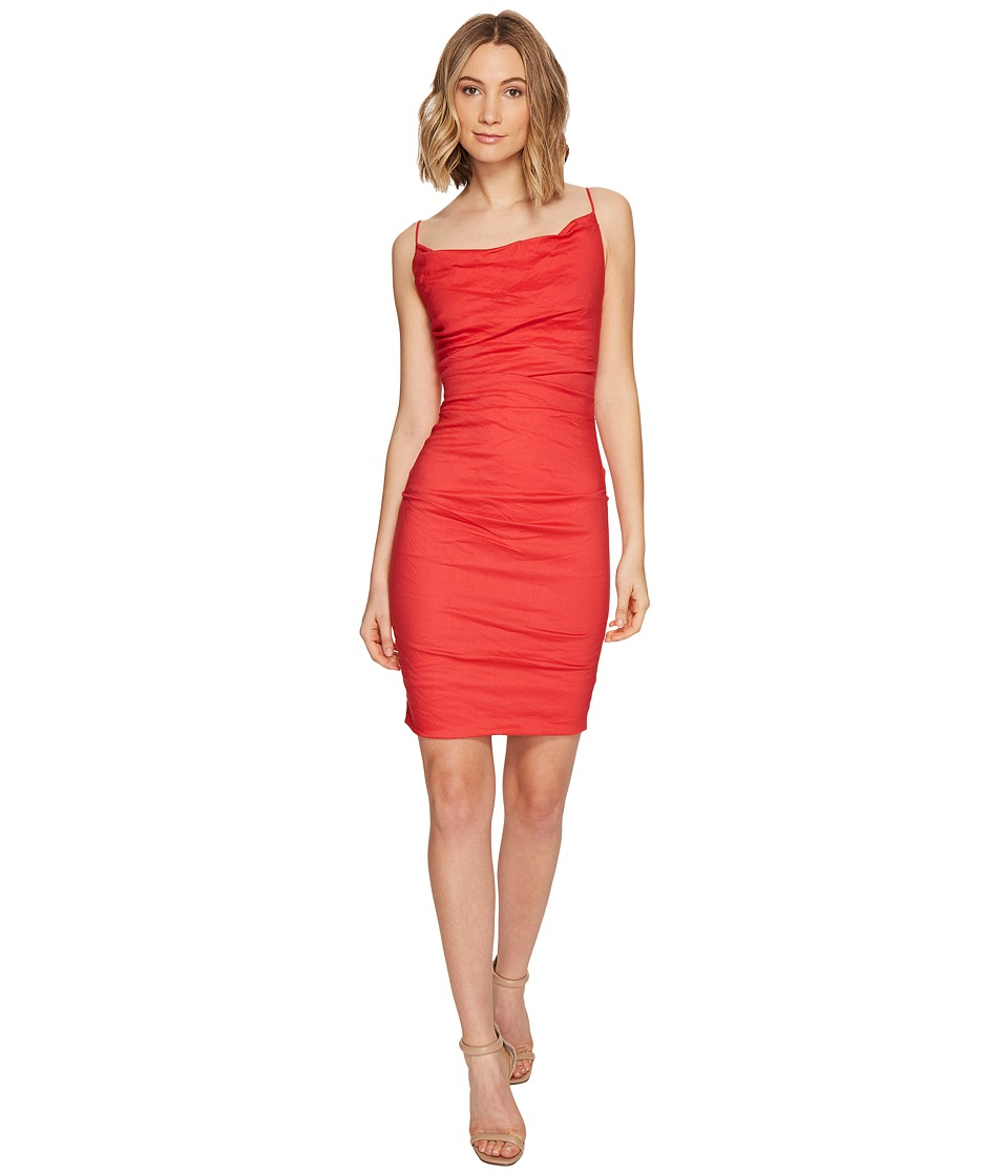 Nicole Miller Carly Cotton Metal Spaghetti Strap Dress (Watermelon) Women
