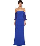 Nicole Miller - Techy Crepe Pleated Sleeves Gown