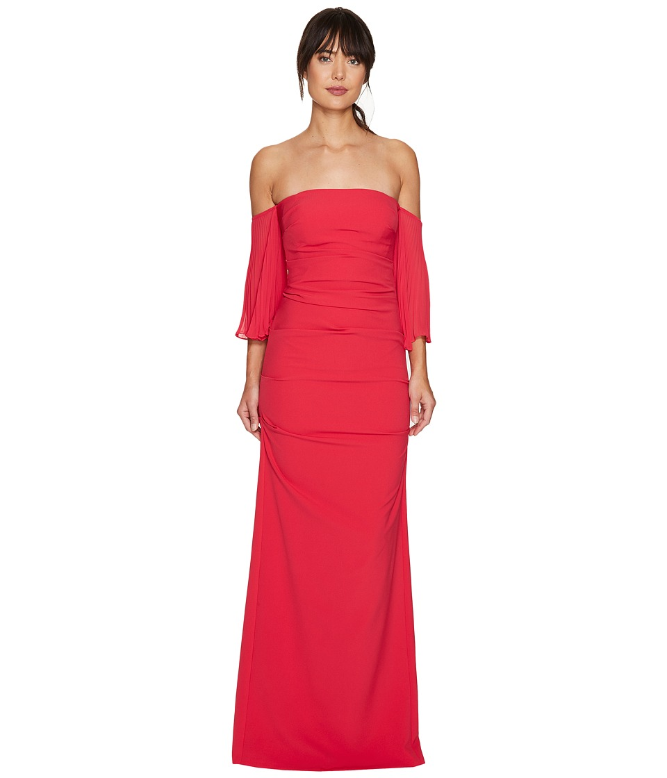 Nicole Miller Techy Crepe Pleated Sleeves Gown (Watermelo...