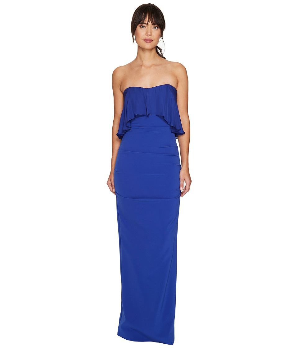 Nicole Miller Techy Crepe Strapless Gown w/ Flare (Bluebe...