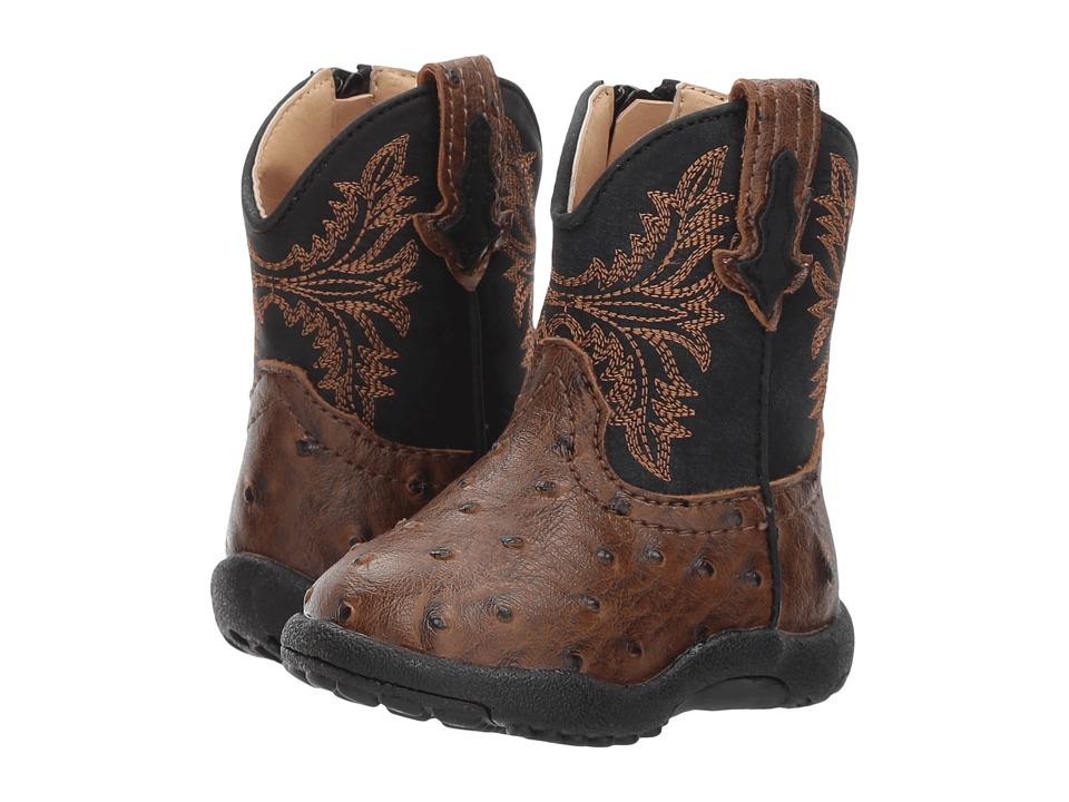 Roper Kids Jed (Infant/Toddler) (Brown Faux Ostrich Vamp Black Shaft) Cowboy Boots