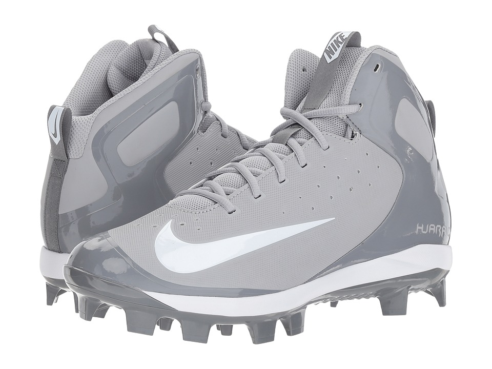 Nike - Alpha Huarache Pro Mid MCS (Wolf Grey/White/Cool Grey) Mens Cleated Shoes