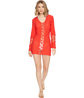Luli Fama - Cosita Buena Crochet Cut Out Plunge V-Neck Dress Cover-Up