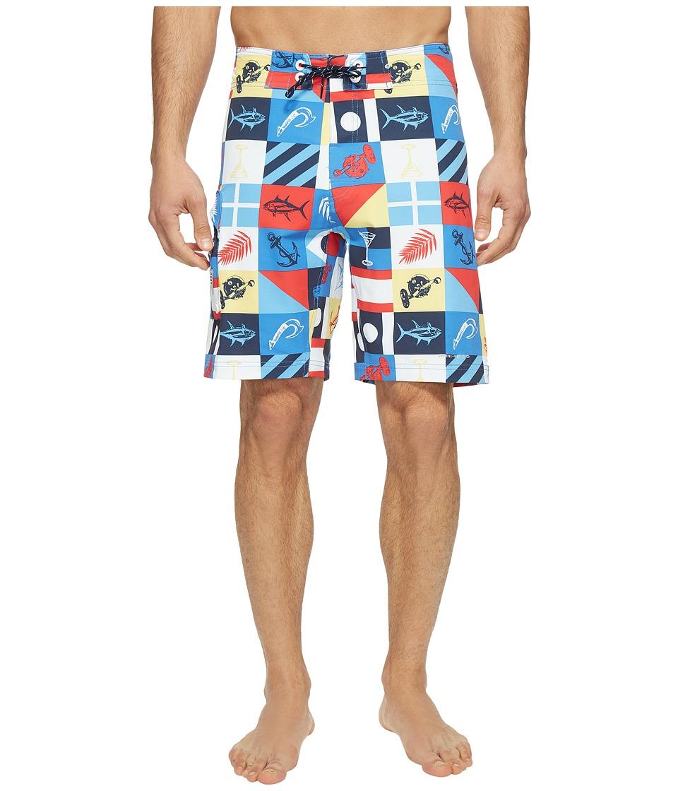 Columbia PFG Offshore II 9 inch Board Shorts (Multi Marina Flags Print) Men