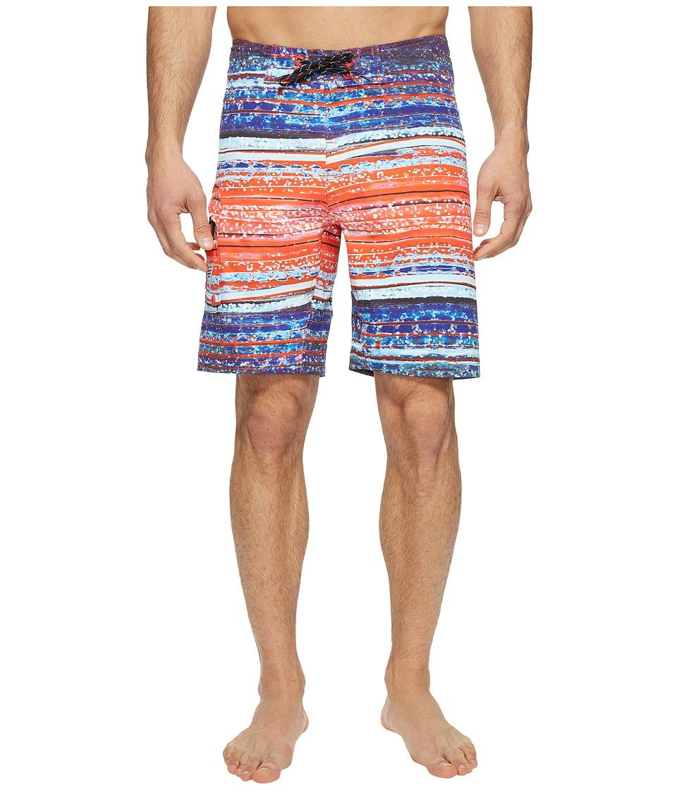 Columbia PFG Offshore II 9 inch Board Shorts (Sunset Red Lure Stripe) Men