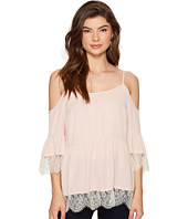 1.STATE - Cold Shoulder Blouse w/ Lace Trim