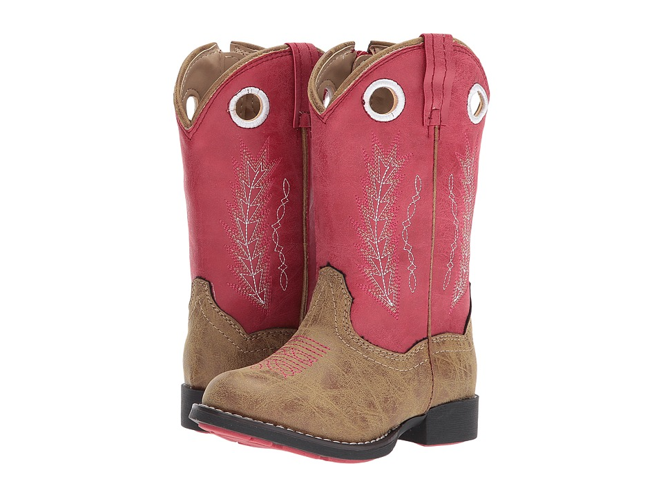 Roper Kids Hole In The Wall (Toddler) (Tan Faux Leather Vamp Red Shaft) Cowboy Boots