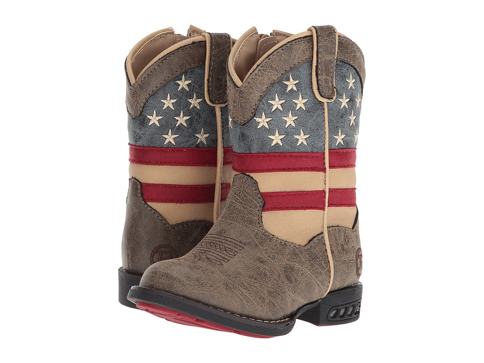 Roper Kids Patriot (Toddler) (Faux Leather Vamp Stars + Stripes Shaft) Cowboy Boots