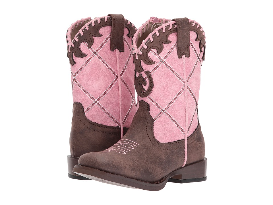 Roper Kids Lacy (Toddler) (Brown Faux Leather Vamp Pink Shaft) Cowboy Boots
