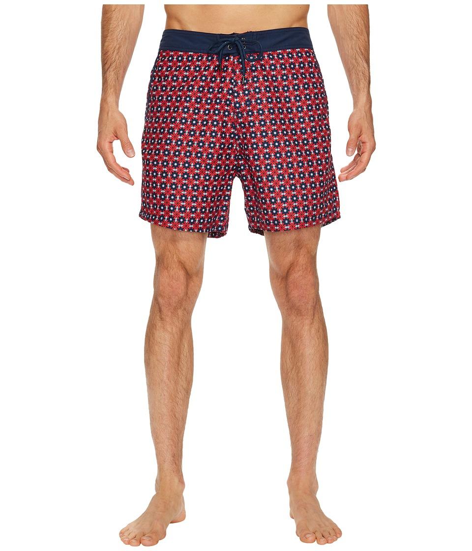 Mr. Swim Star Tile Printed Chuck Boardshorts (Red) Men