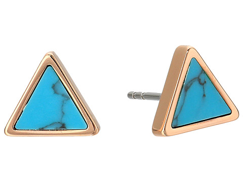 Fossil Turquoise Triangle Studs - Rose Gold Tone